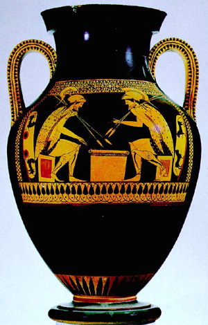 "ANDOKIDES PAINTER, AJAX AND ACHILLES PLAYING A GAME (ATTIC BILINGUAL AMPHORA), FROM ORVIETO, C. 525 - 520 B.C. BLACK-FIGURE SIDE (LEFT) AND RED-FIGURE SIDE (RIGHT). APPROX. 1'9"" HIGH. COURTESY, MUSEUM OF FINE ARTS, BOSTON."