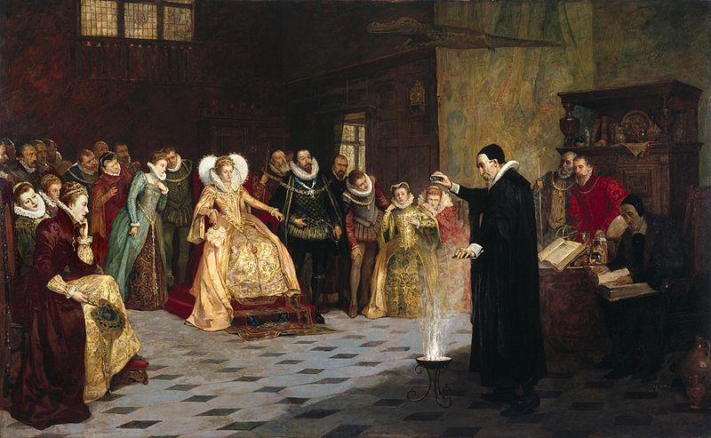 Dee- 800px-Glindoni_John_Dee_performing_an_experiment_before_Queen_Elizabeth_I