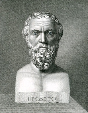 "Herodotus. Historical artwork of Herodotus of Halicarnassus (484-425 BC), a Greek historian from Iona who documented the Greco-Persian wars, which occurred in 490 and 480-479 BC. This documentation was entitled The Histories, and is probably the work for which he is best known. The Histories also contains excellent ethnographic descriptions of the peoples that the Persians conquered, fairy tales, gossip, legends, and a very humanitarian morale. He is considered the world's first historian and often referred to as the ""Father of History""."